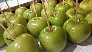 Skewered apples ready to dip in caramel