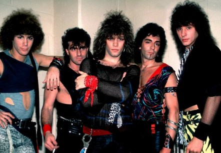 Bon Jovi backstage before a performance at the Rosemont Horizon, Rosemont, Illinois in 1984. Pictured are, from left, David Bryan, Tico Torres, Jon Bon Jovi, Alec John Such, and Richie Sambora.