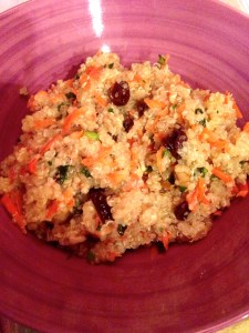 Quinoa salad, with raisins, cucumber, carrot...