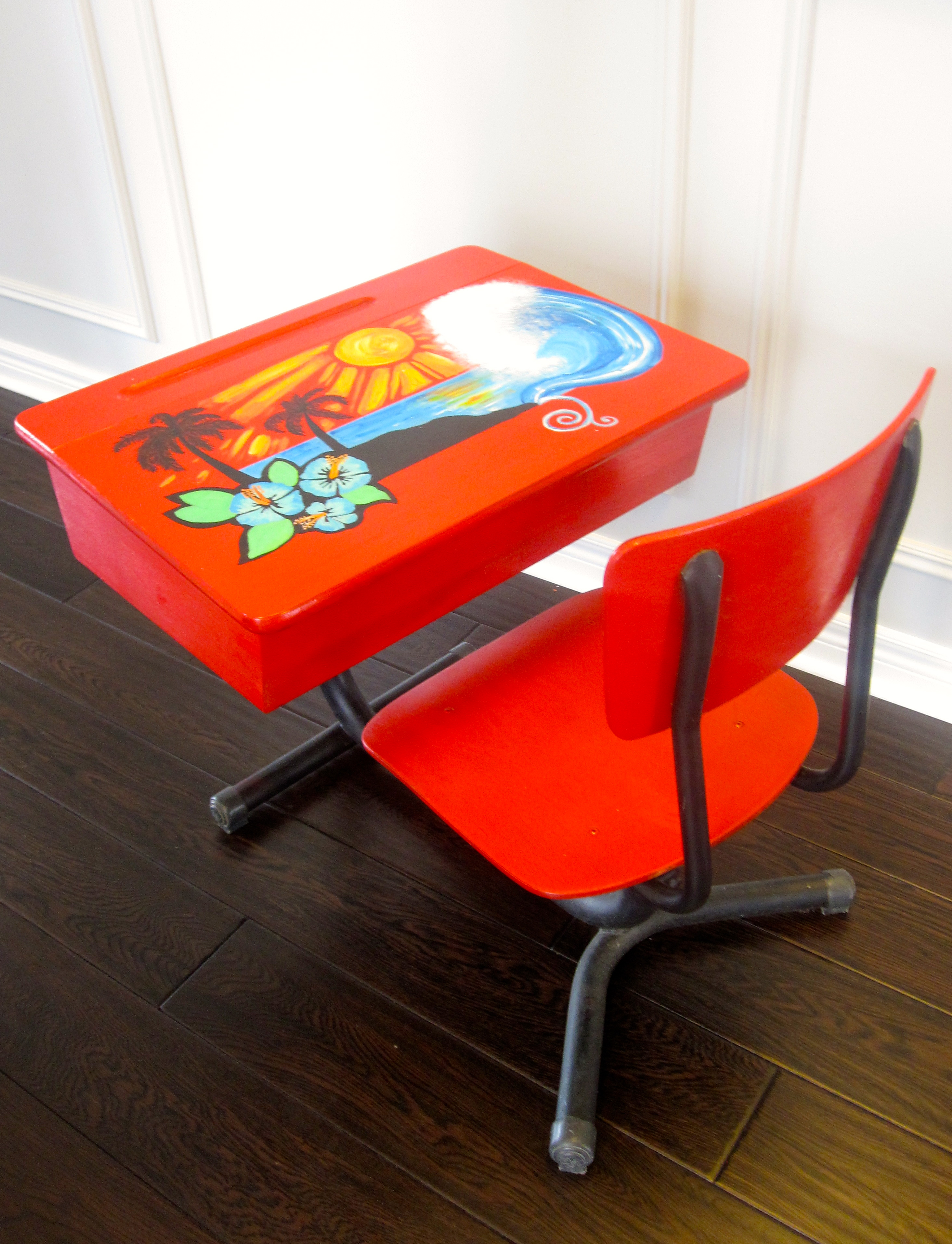 old fashioned birthing chairs knoll pollock chair an school desk is given a fresh surf look with hand