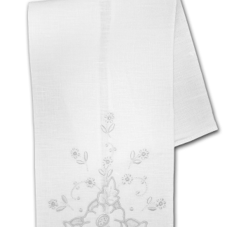 Hand Embroidered White Guest Towel