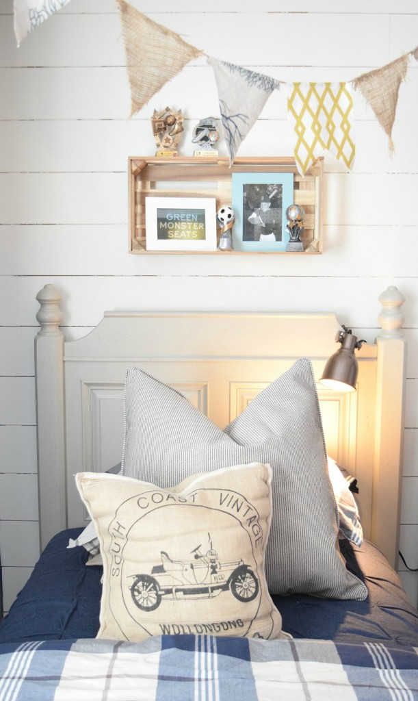 Boys room kids space planked walls