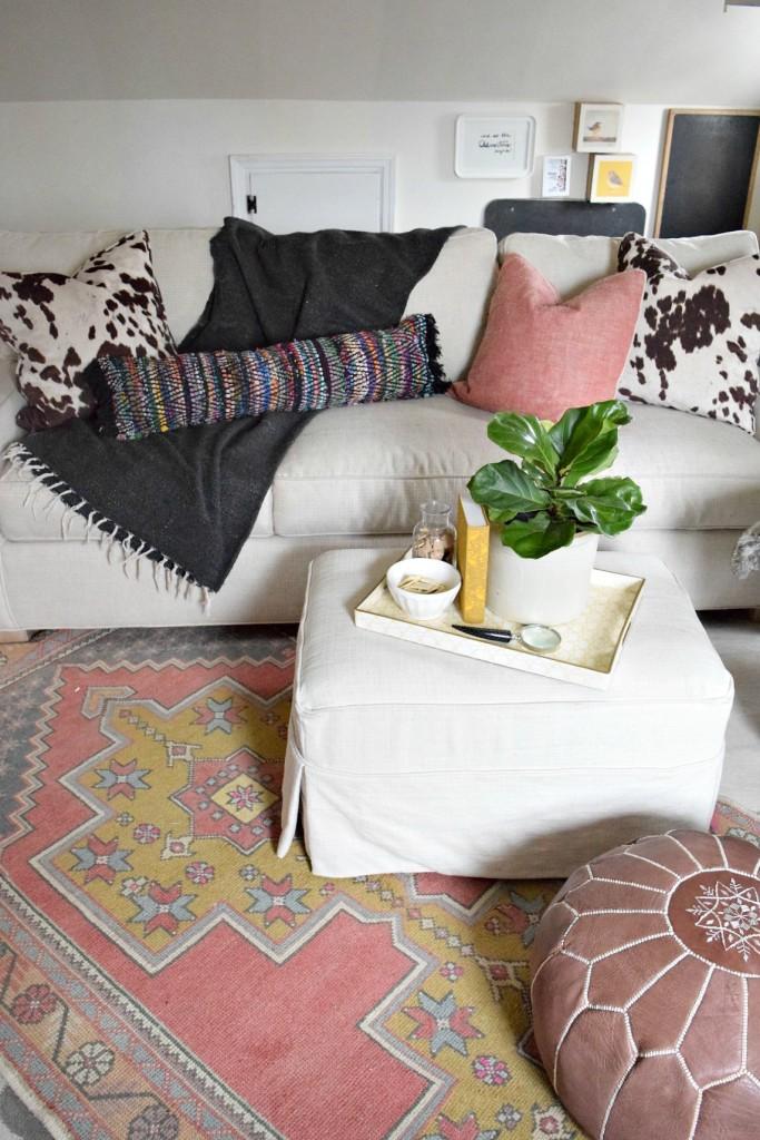 bohemian diy rug turned pillow 2