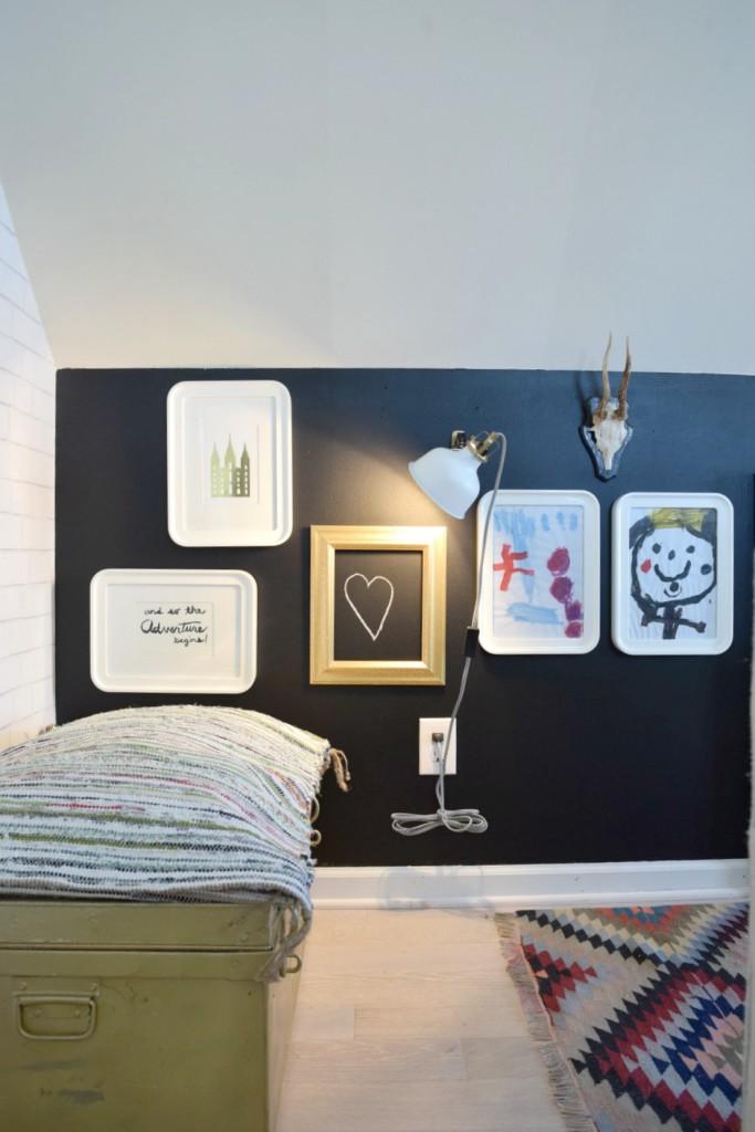 playroom DIY chalkboard wall in a tiny house