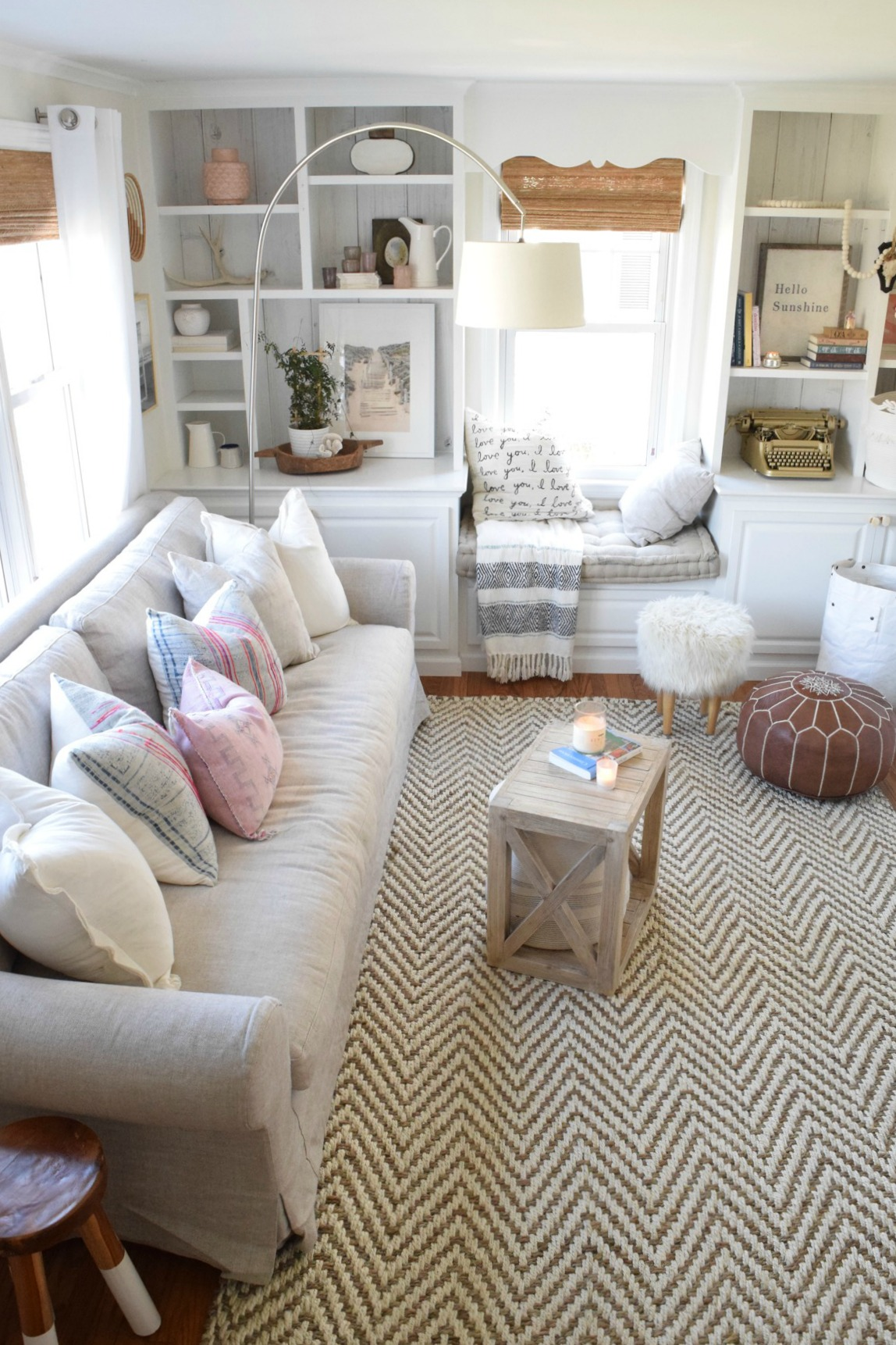 New Sofa in our Eclectic Beach Style Cape Front Room ...