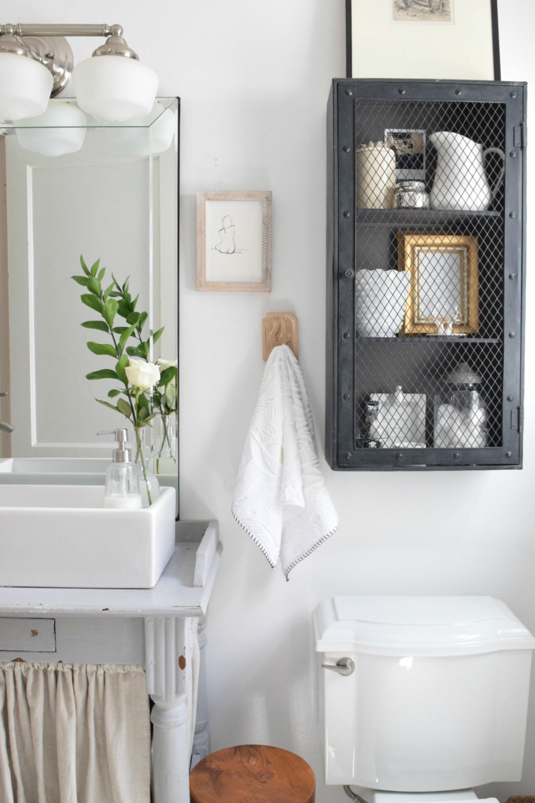 Small Bathroom Ideas- Storage in our Tiny Cape & Small Bathroom Ideas and Solutions in our Tiny Cape - Nesting With Grace