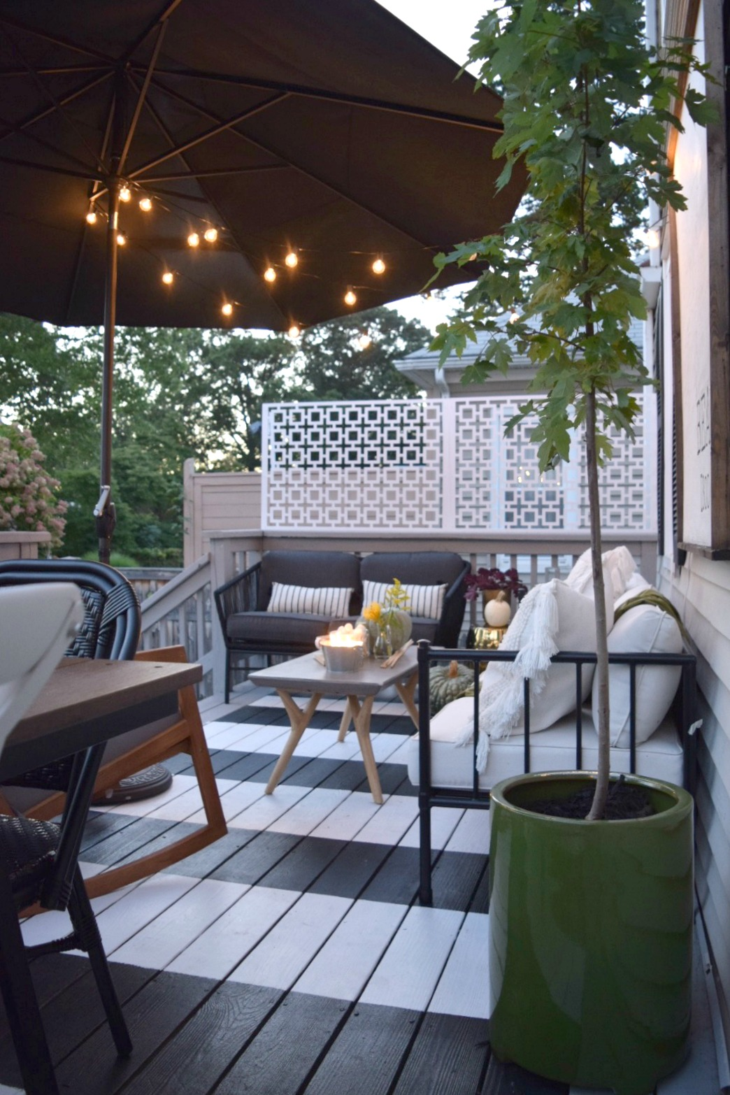 Outdoor Patio Space  Painted Stripe Deck And Maximizing Small Backyard Deck