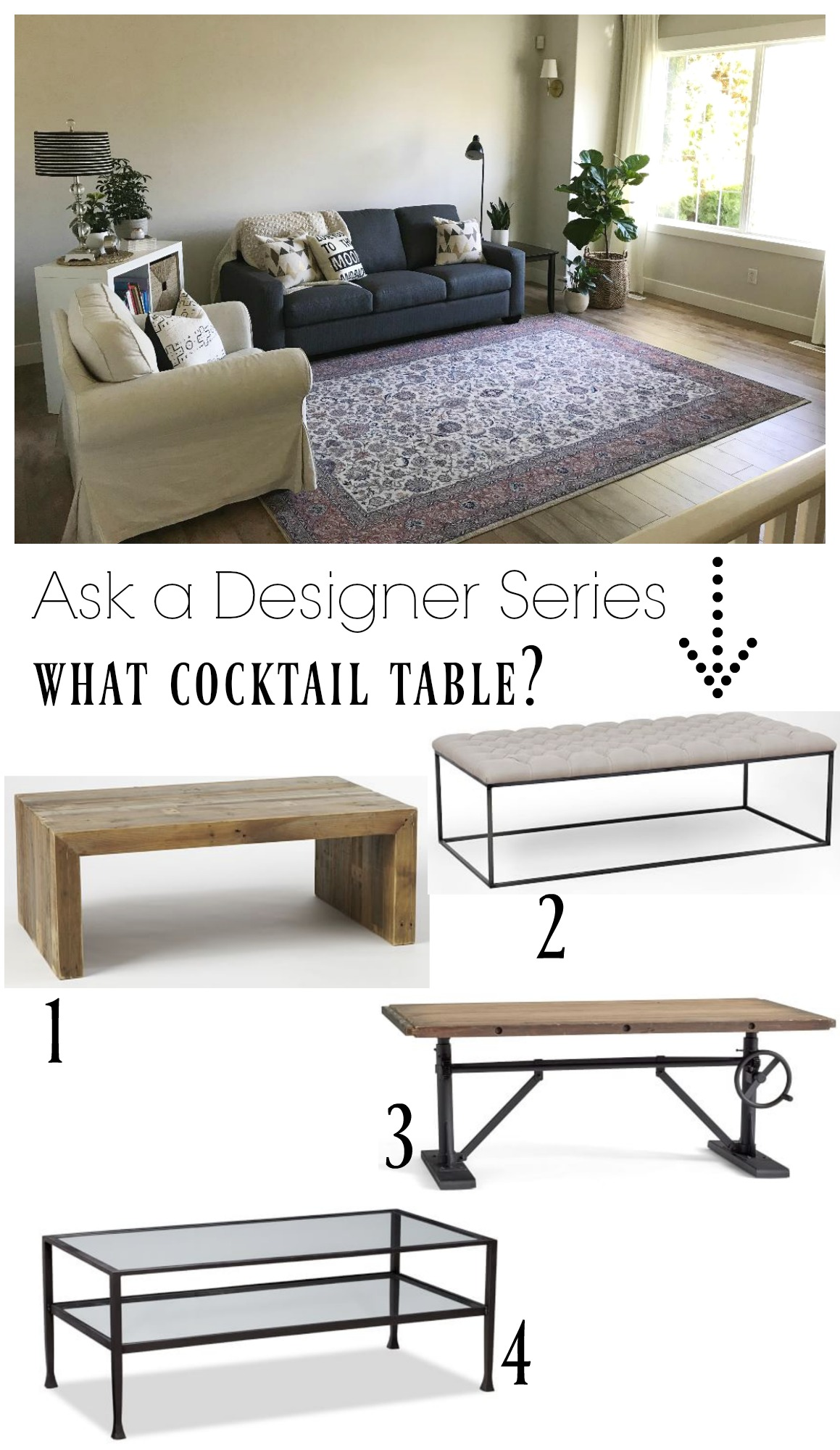 Ask a Designer Series- What Cocktail Table?