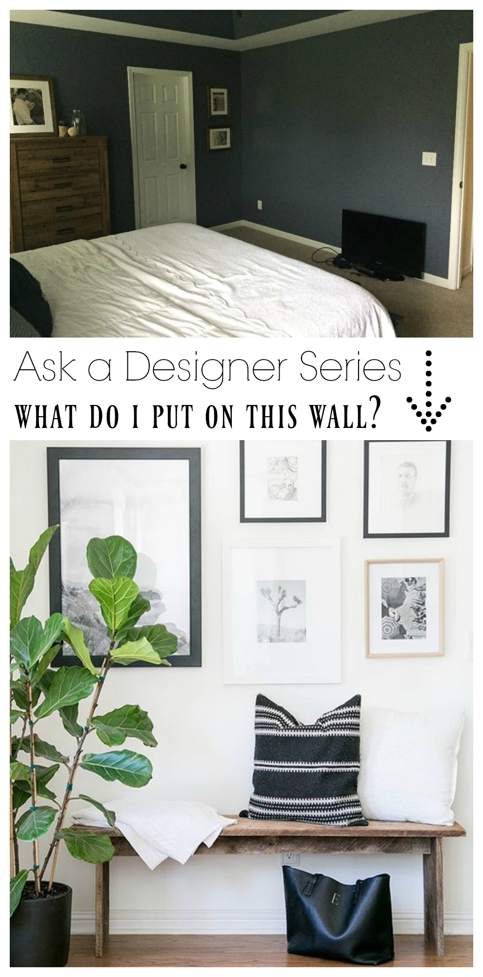 Ask a Designer Series- Bedroom Wall Ideas- Bench with Gallery Wall