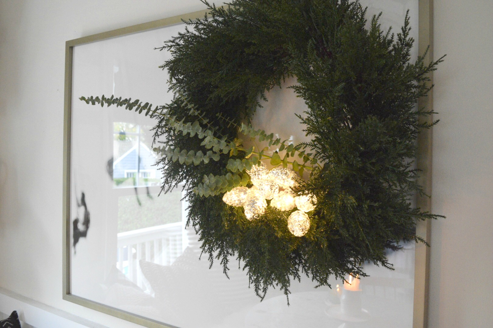 Christmas Decor- Christmas Garland above Window- Small Kitchen