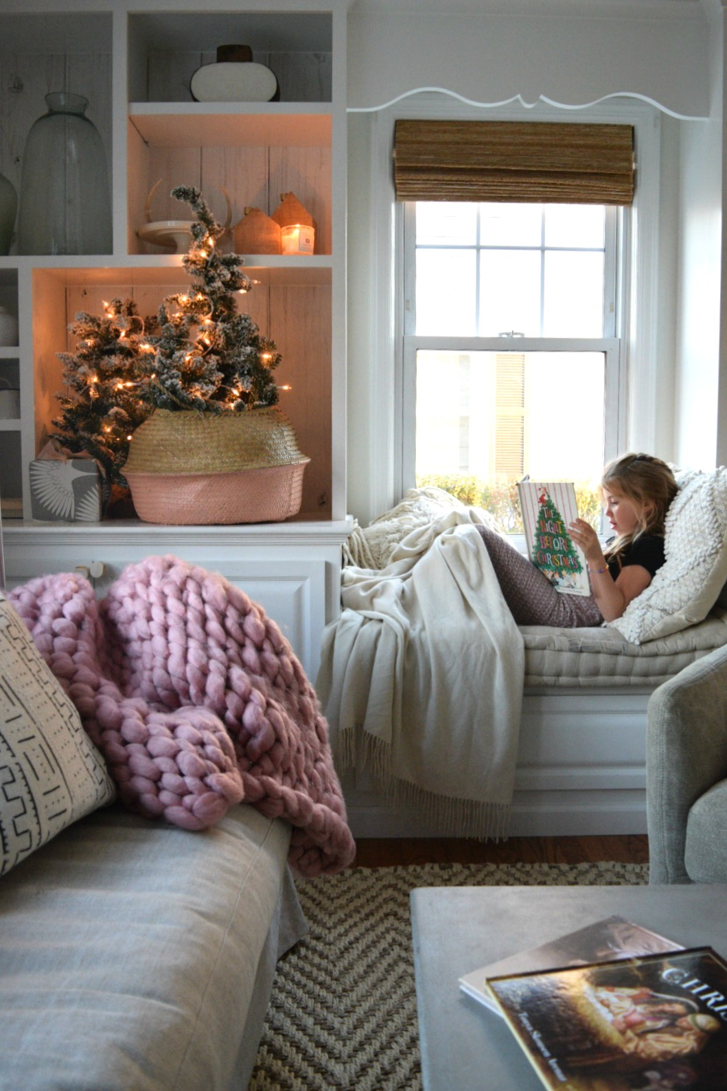 Christmas tree in our small family room nesting with grace - Small apartment bedroom ideas ...