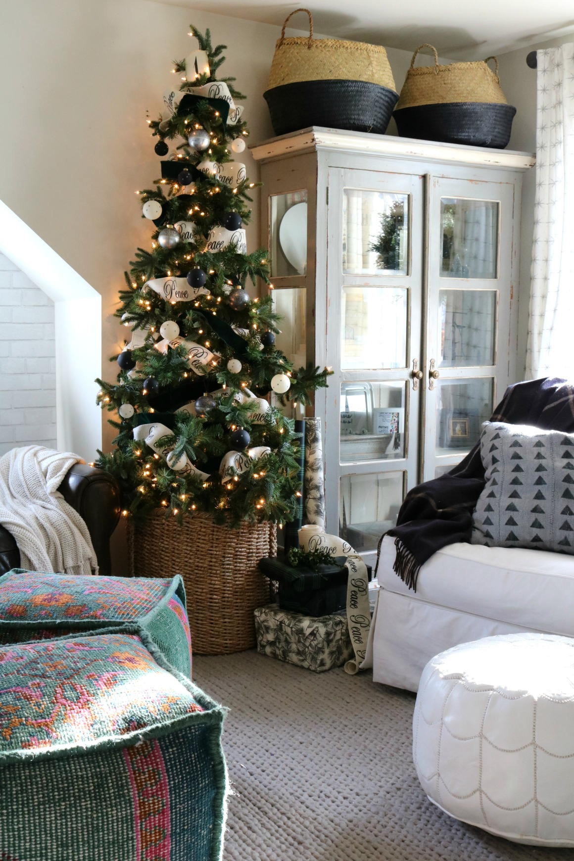 Christmas Decor in a Small Cape- Family Room