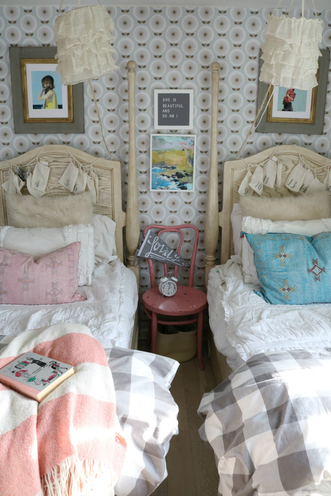 Christmas Decor in a Small Cape- Girls Shared Bedroom 0077