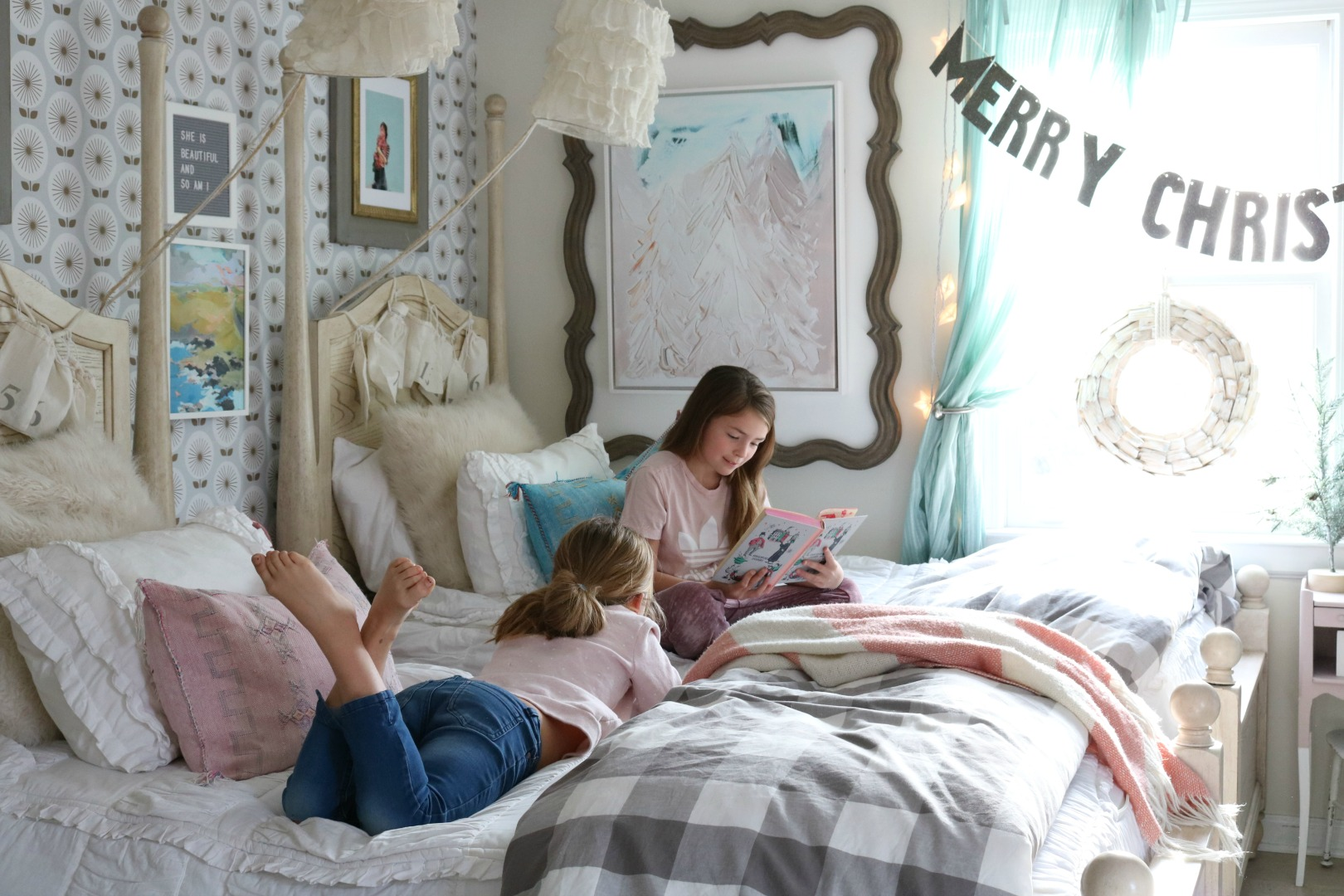 Christmas Decor in a Small Cape- Girls Shared Bedroom 055