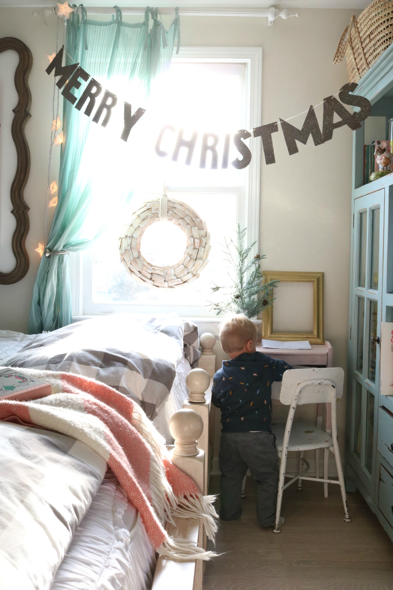Christmas Decor in a Small Cape- Girls Shared Bedroom 0777