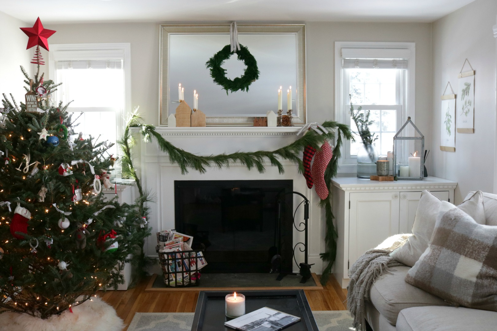 Christmas Mantel Ideas- Before and After