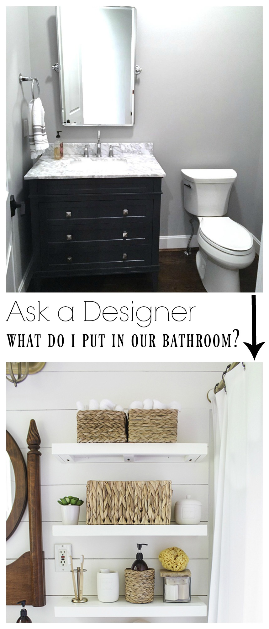 Ask a Designer- What do I put above our Bathroom toliet?