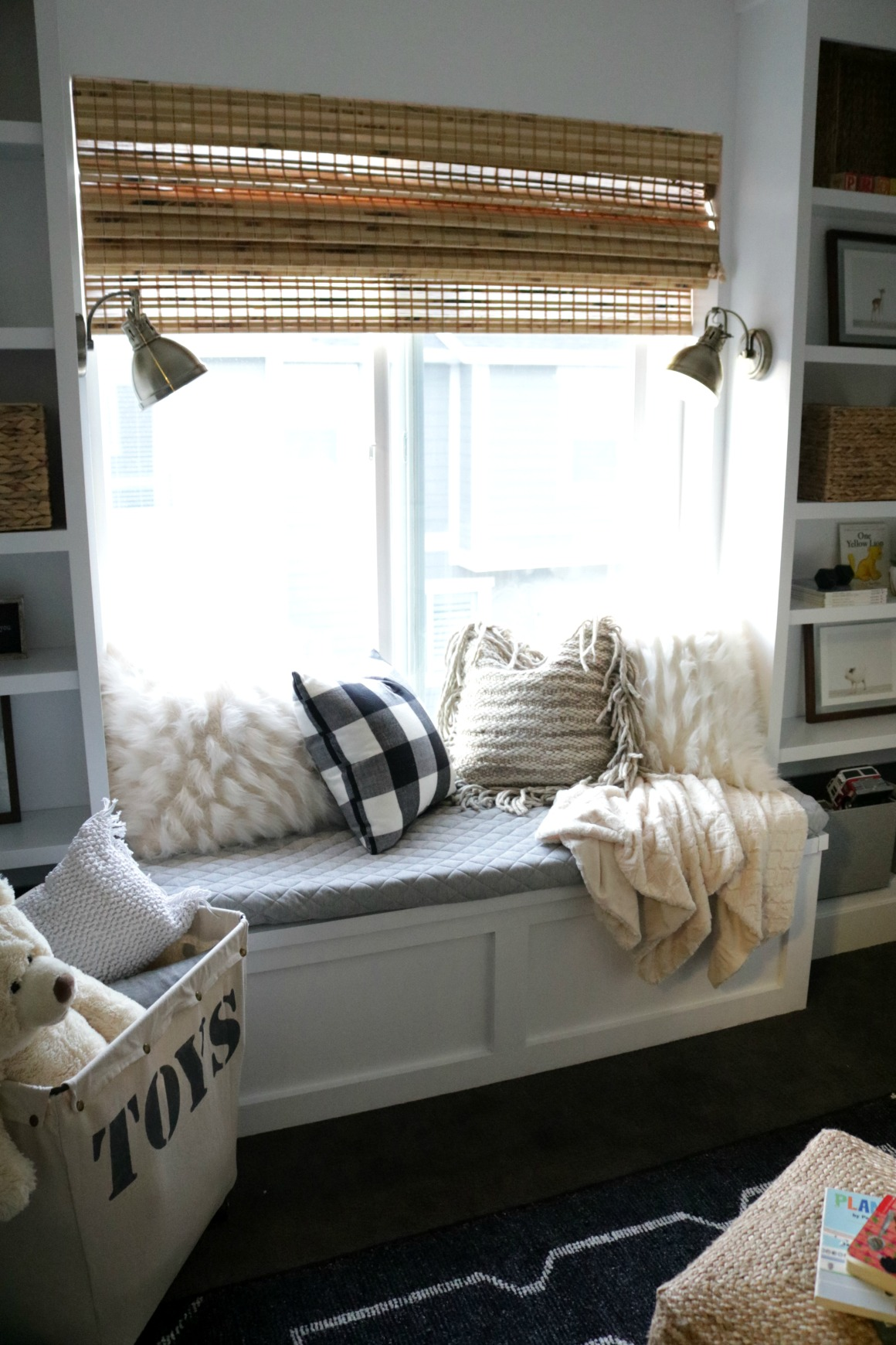 Nursery with DIY Window Seat and Built-in-Bookcase
