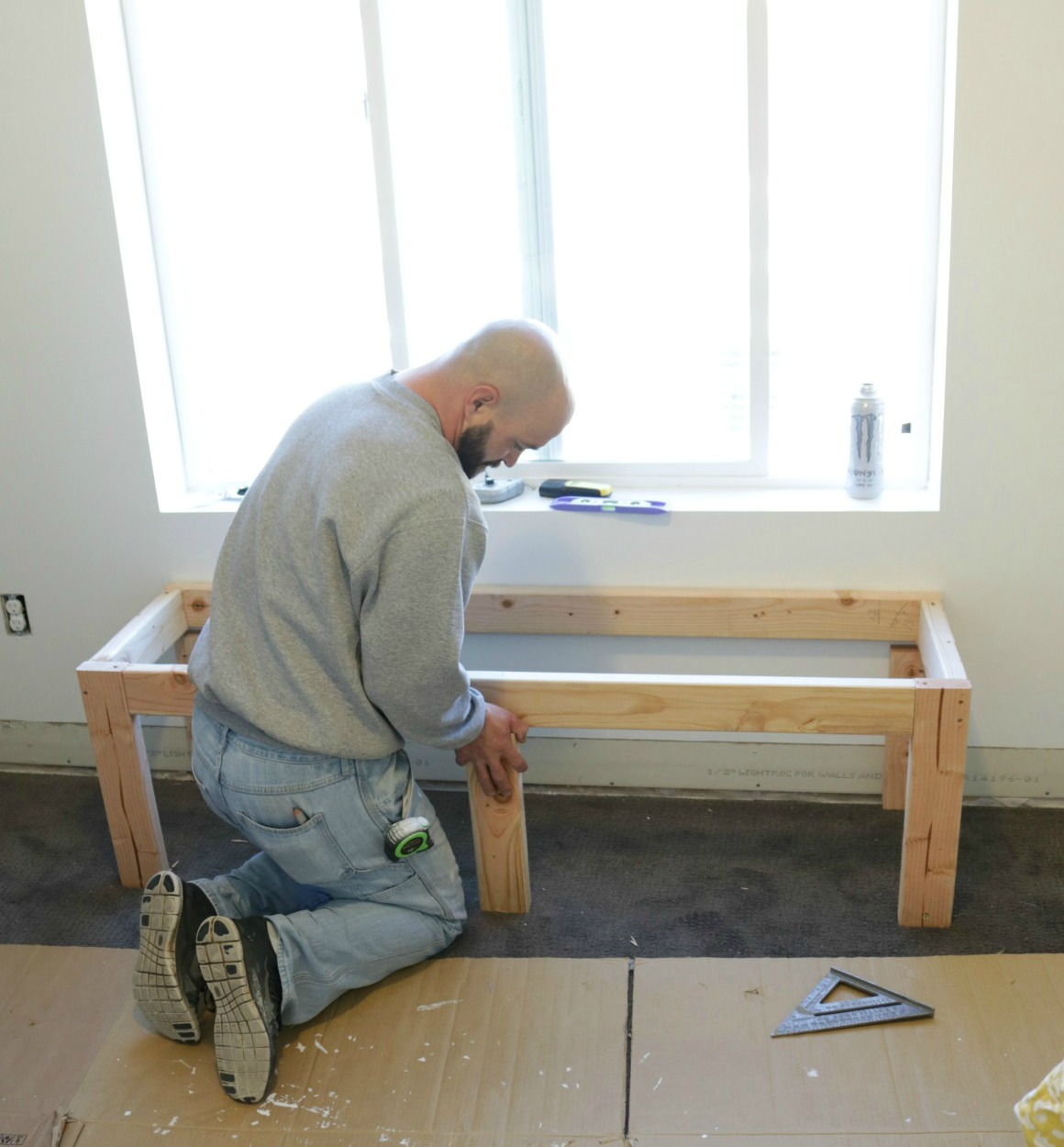 Building A Backyard Gym: How To Build A Window Seat And Built-In Bookcase Tutorial