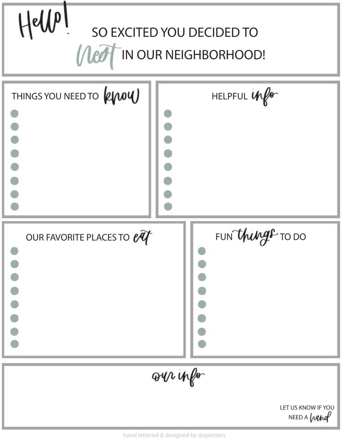 Welcome to the Neighborhood- FREE Printable