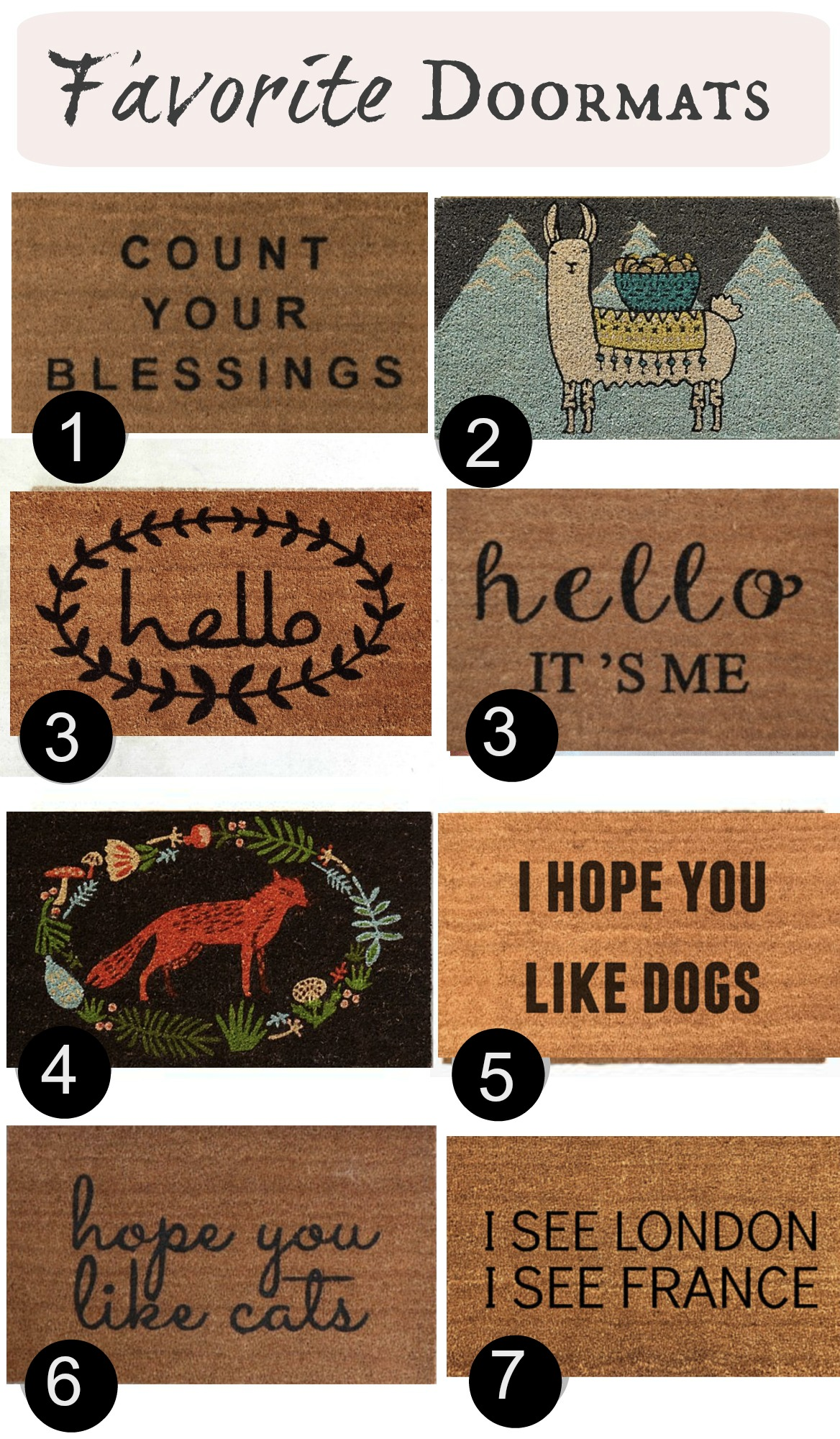 Doormats with writing and sayings- Favorite Rugs