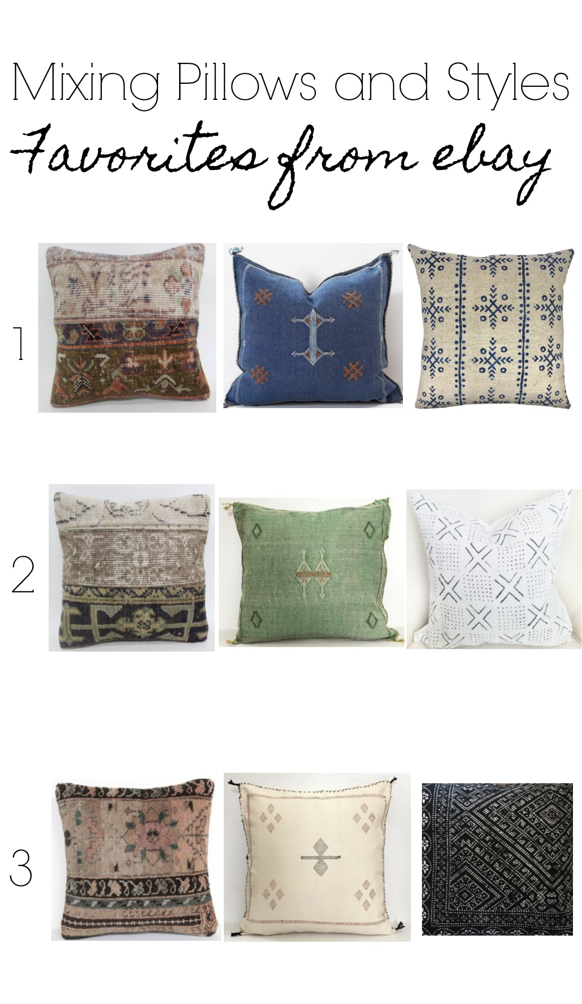 19eb5225 Below are a couple examples of Mixing Pillows and Styles with some  favorites from ebay