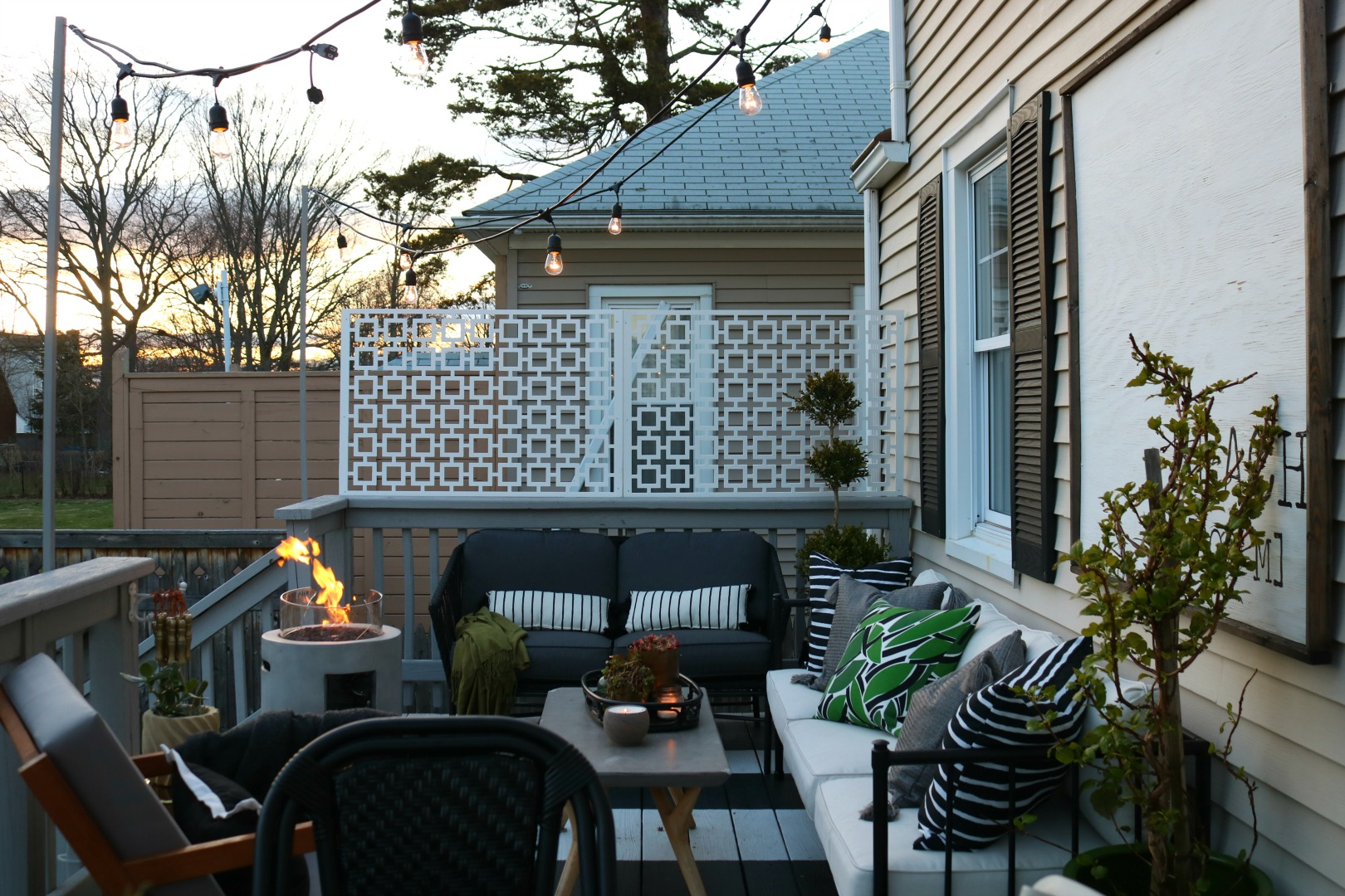 How We Hung Our Deck String Lights Privacy Screen And Artwork Outside Nesting With Grace