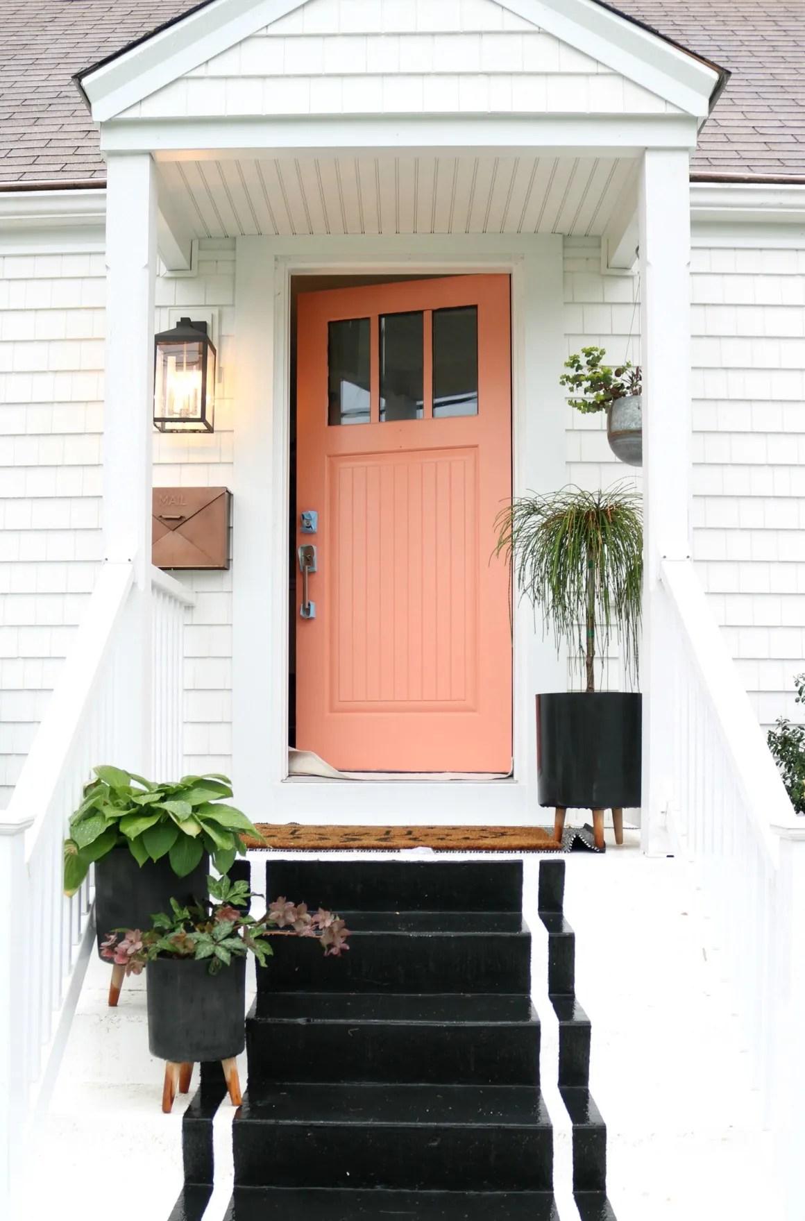 Painting Tips for Front Door- Pink Front Door
