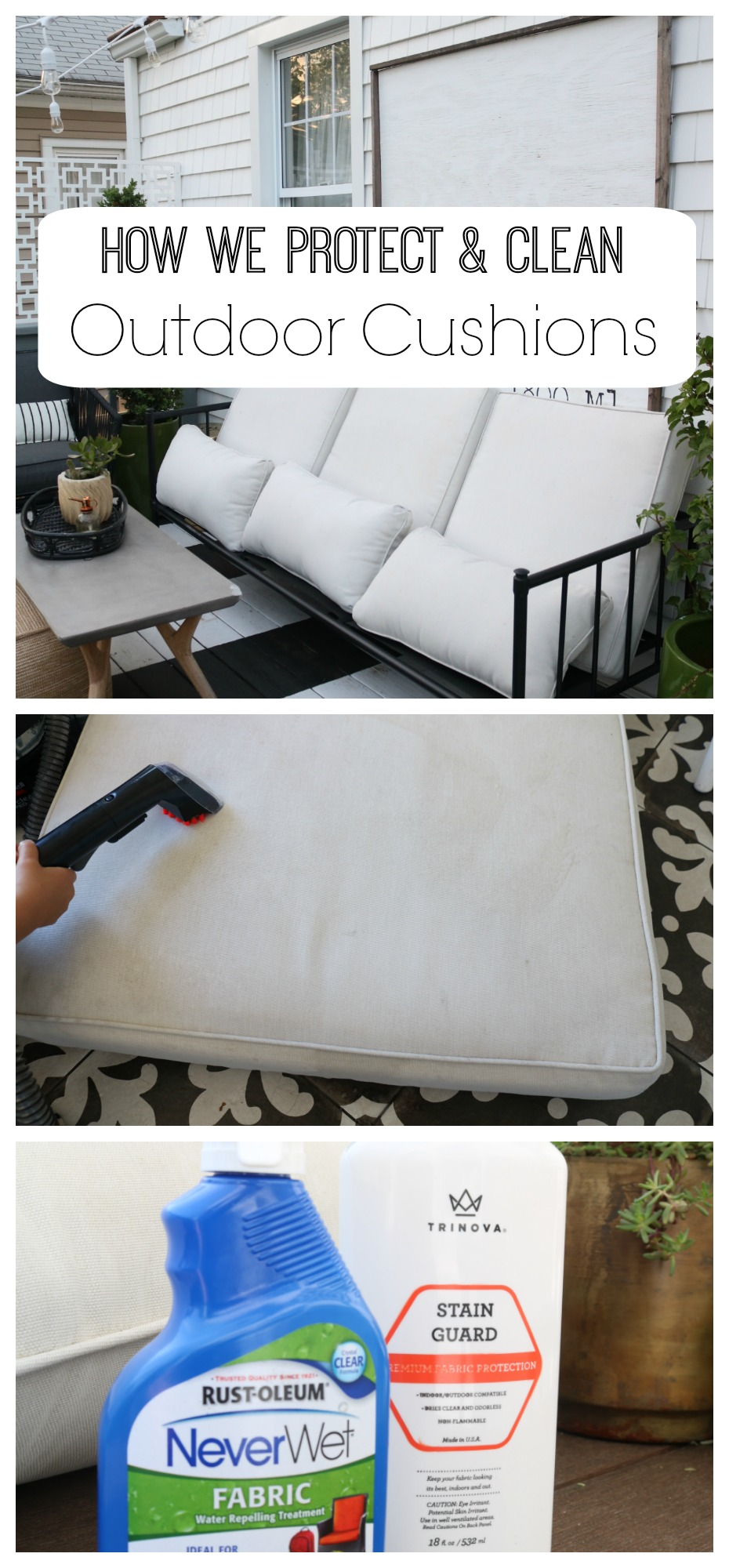 How We Clean Our Outdoor Cushions Indoor Cushions And Rugs