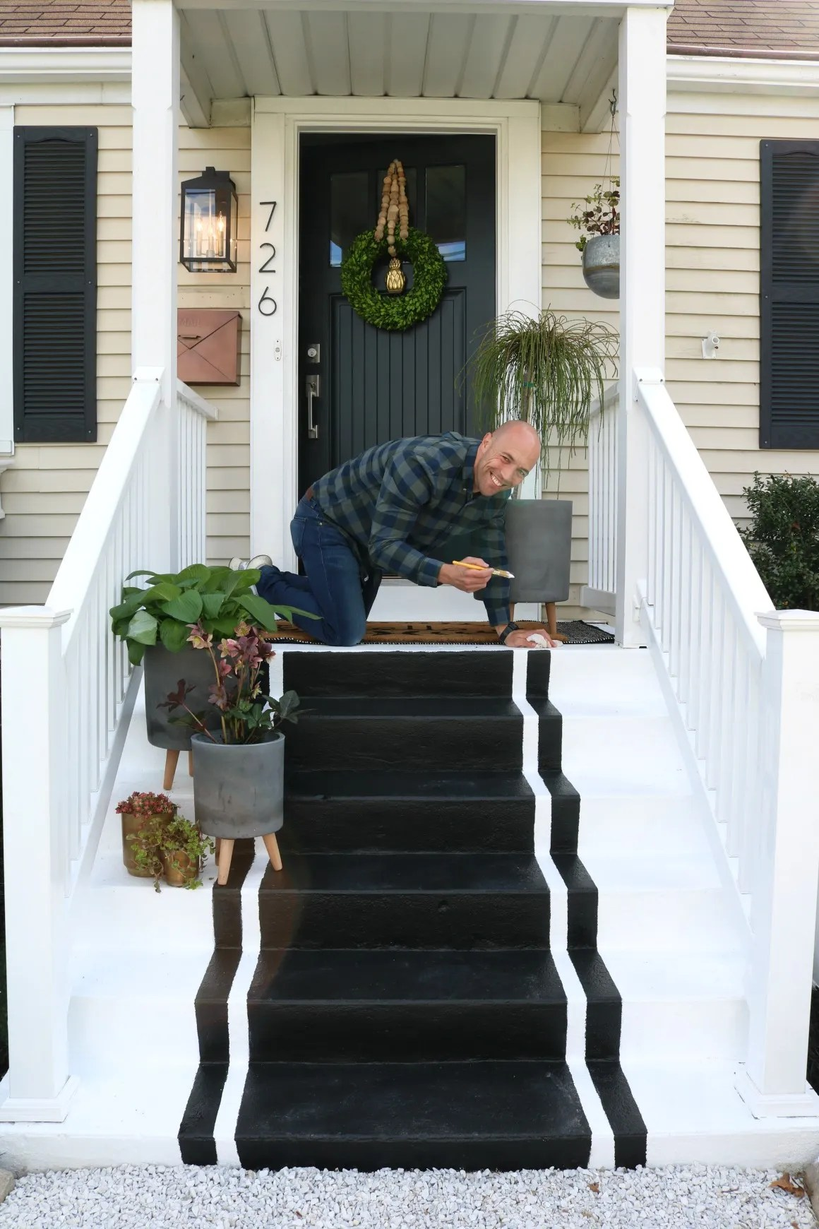 Front Porch Spring Update- Painted Striped Steps