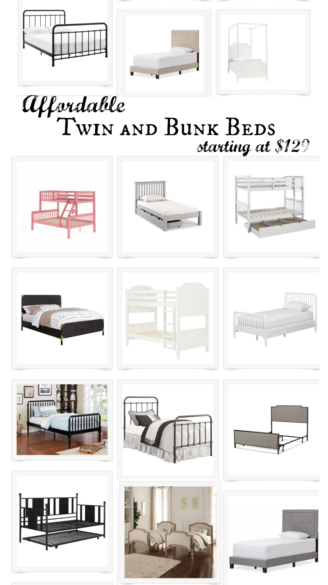 Affordable Twin and Bunk Beds- Starting at $129