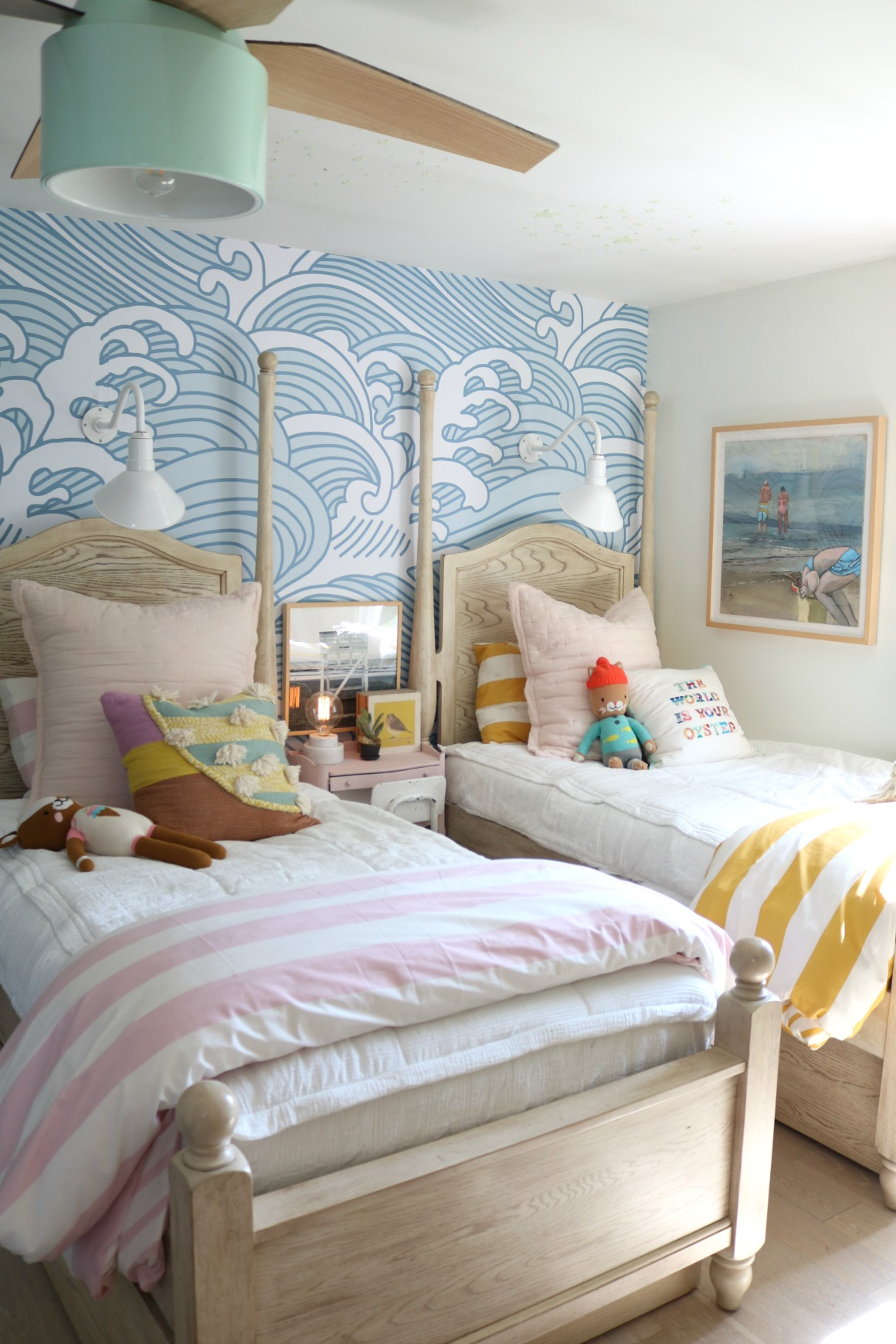 Girls Shared Bedroom NEW Blue Waves Wallpaper - Nesting With ...