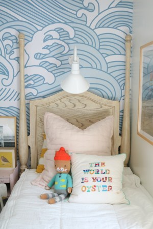 bedroom shared waves wall nestingwithgrace lights twin fun beds chairs hanging