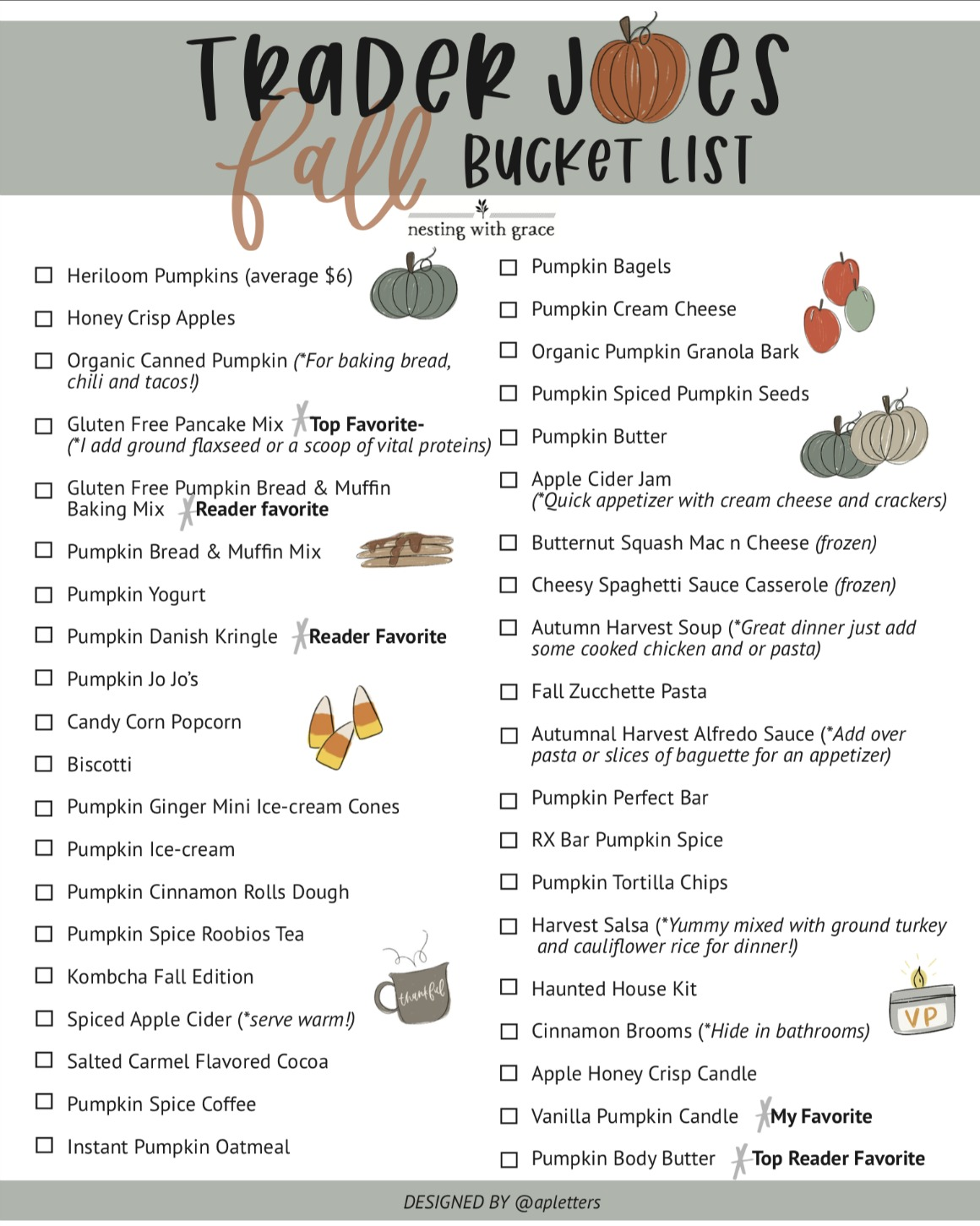 Trader Joe's Fall Bucket List- Top 45 Items - Nesting With Grace