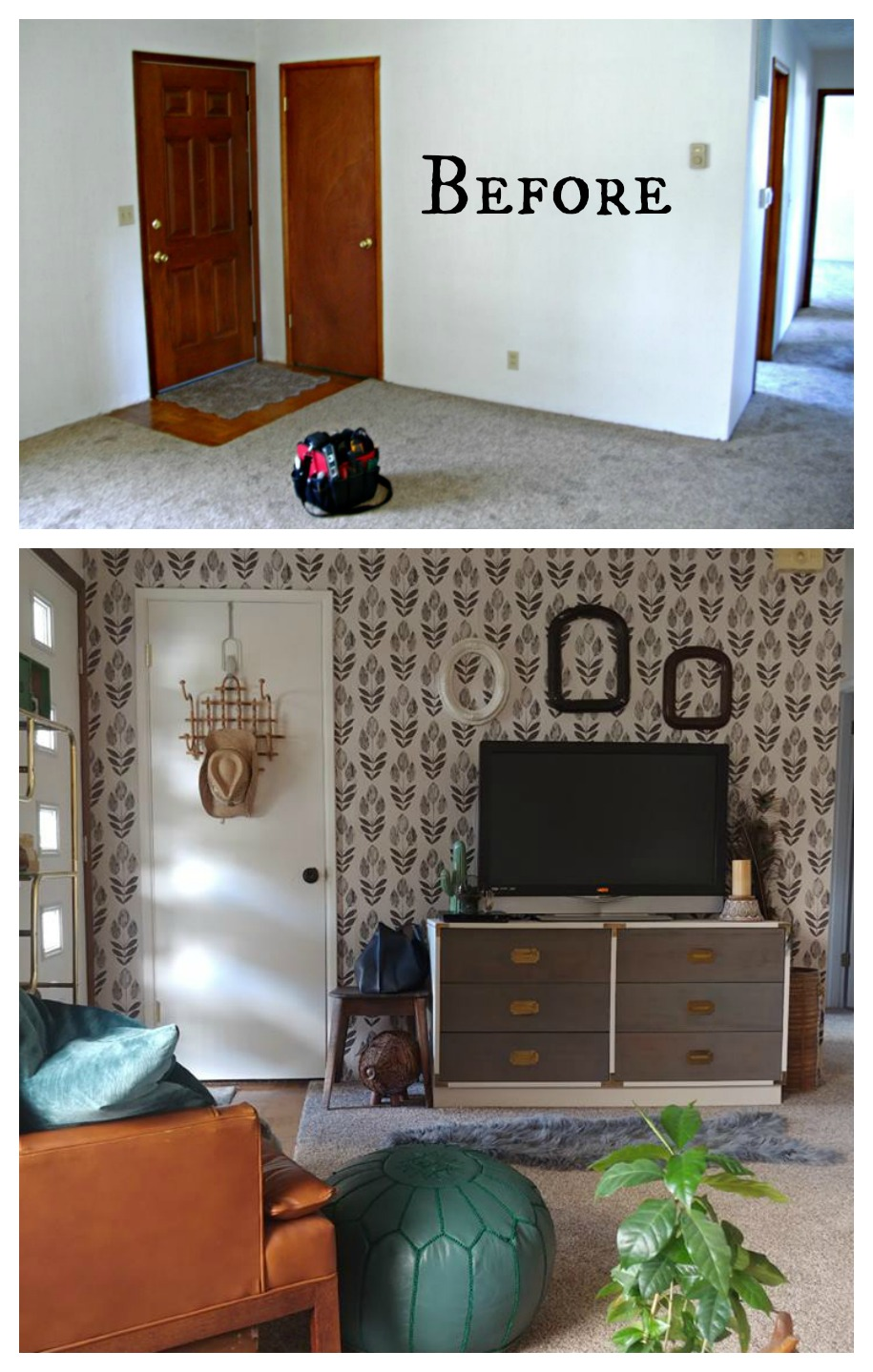 Wallpaper before and after tulip peel and stick entryway