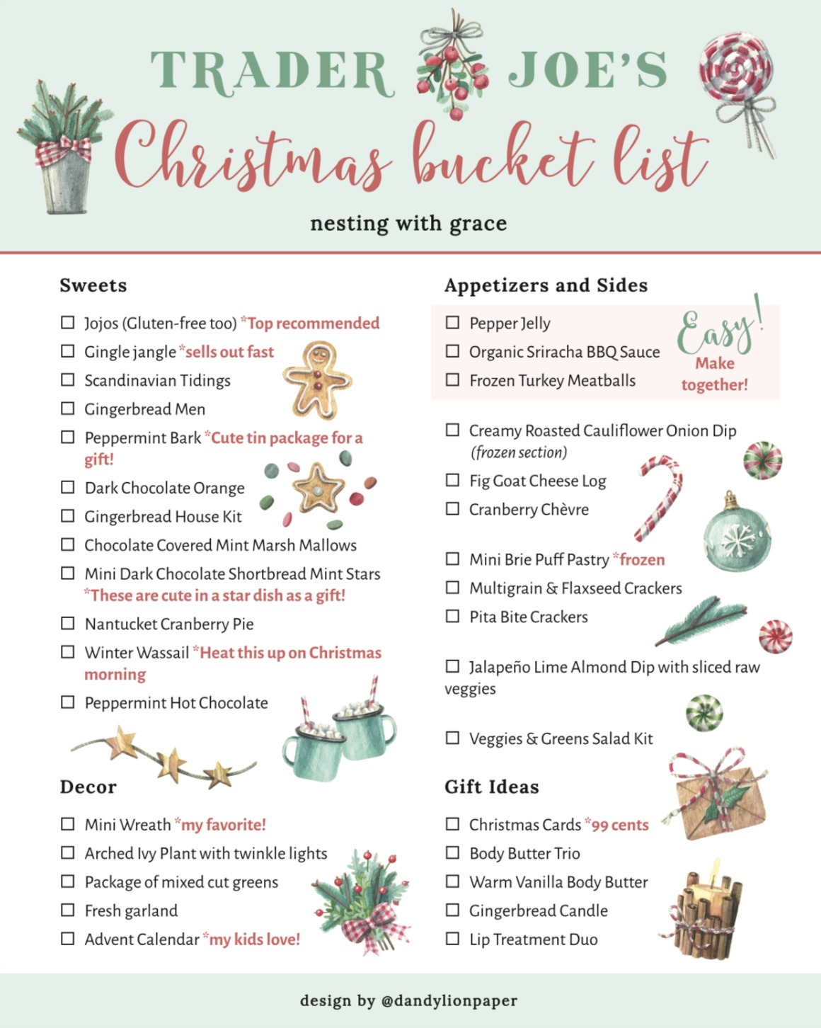 Trader Joe's Christmas Shopping List