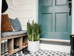 Weekend Entry Makeover with Painted Cement Tile