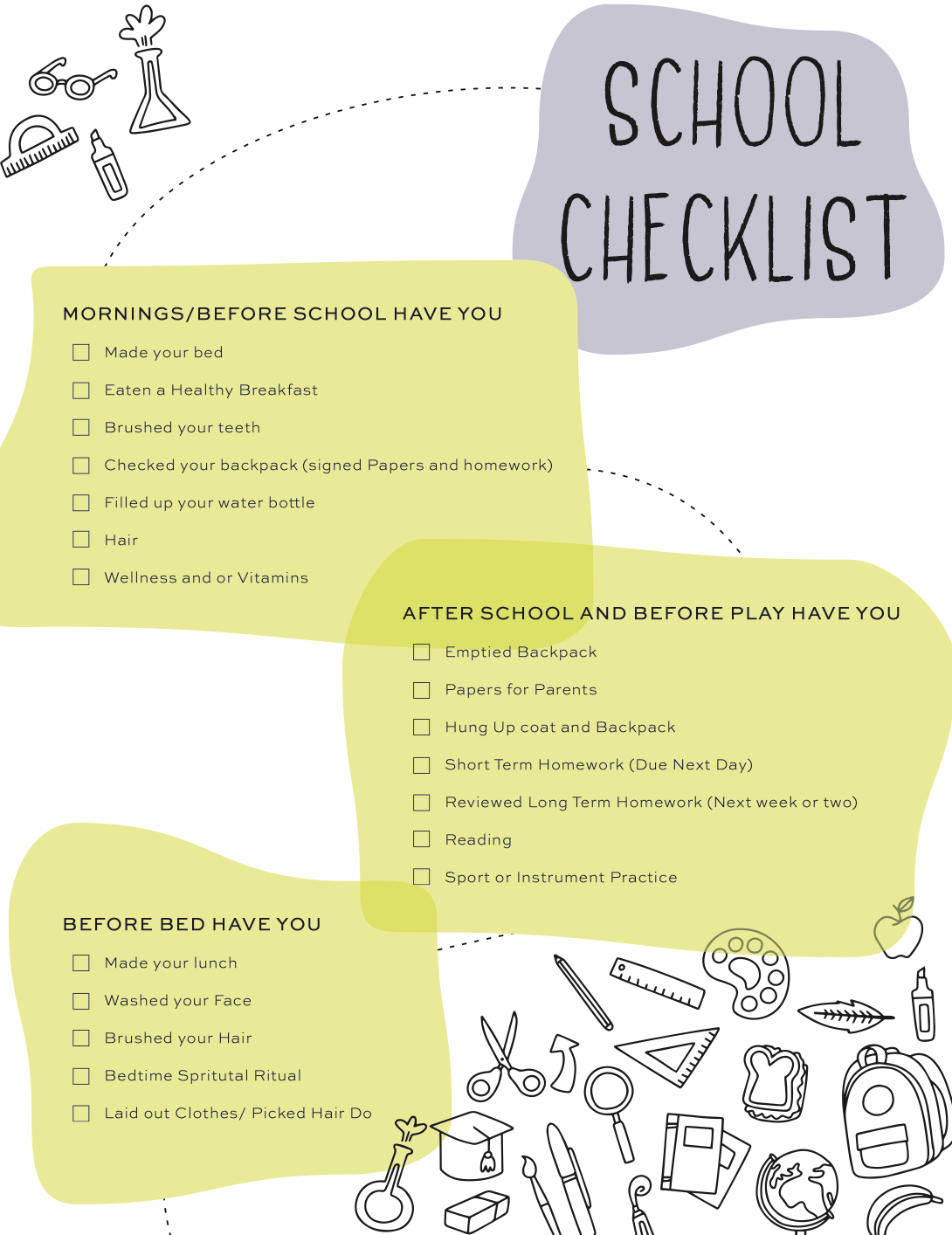 Back To School Check List