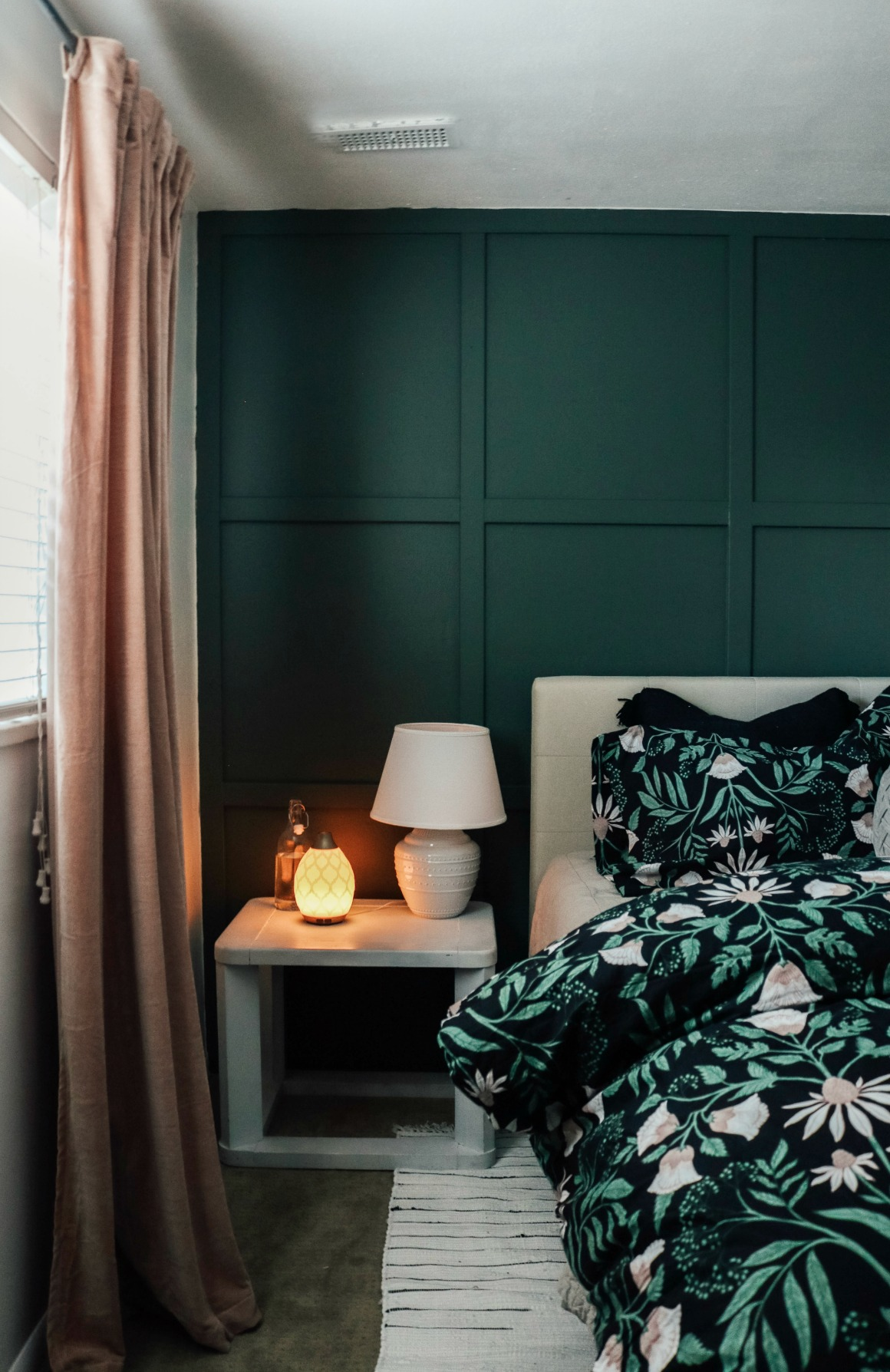Guest Bedroom Makeover- Dark Board and Batten Square Wall