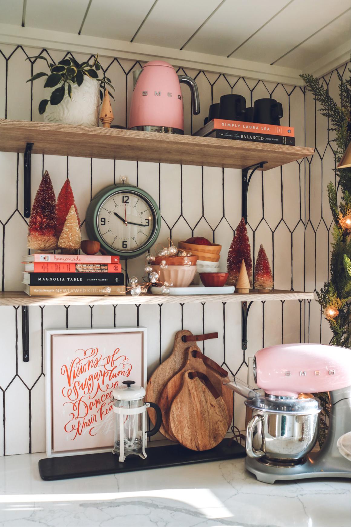 Christmas Decor on Open Shelves
