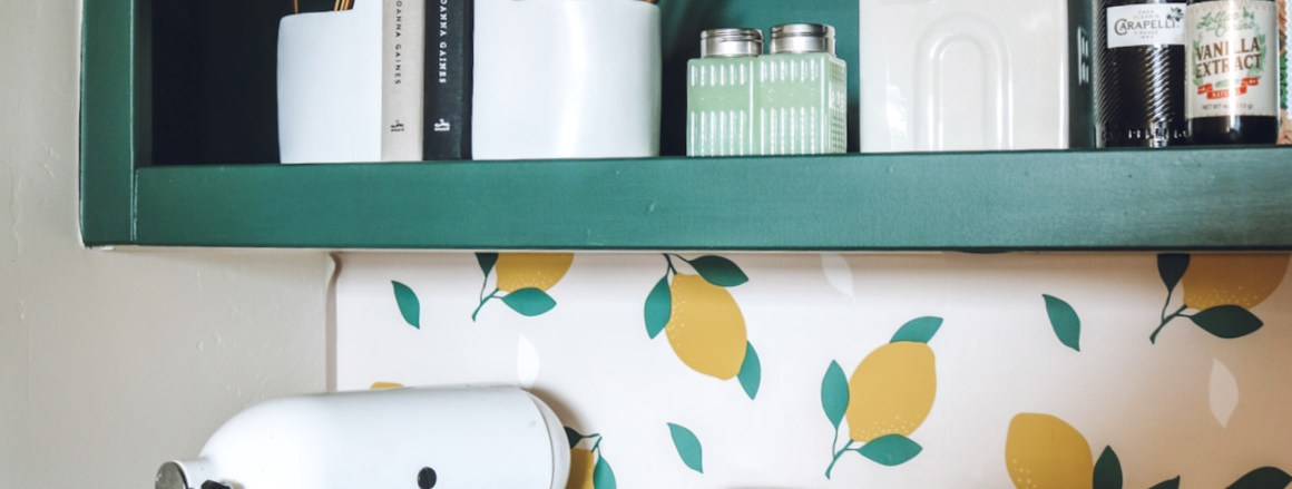Pantry Refresh with Removable Lemon Wallpaper