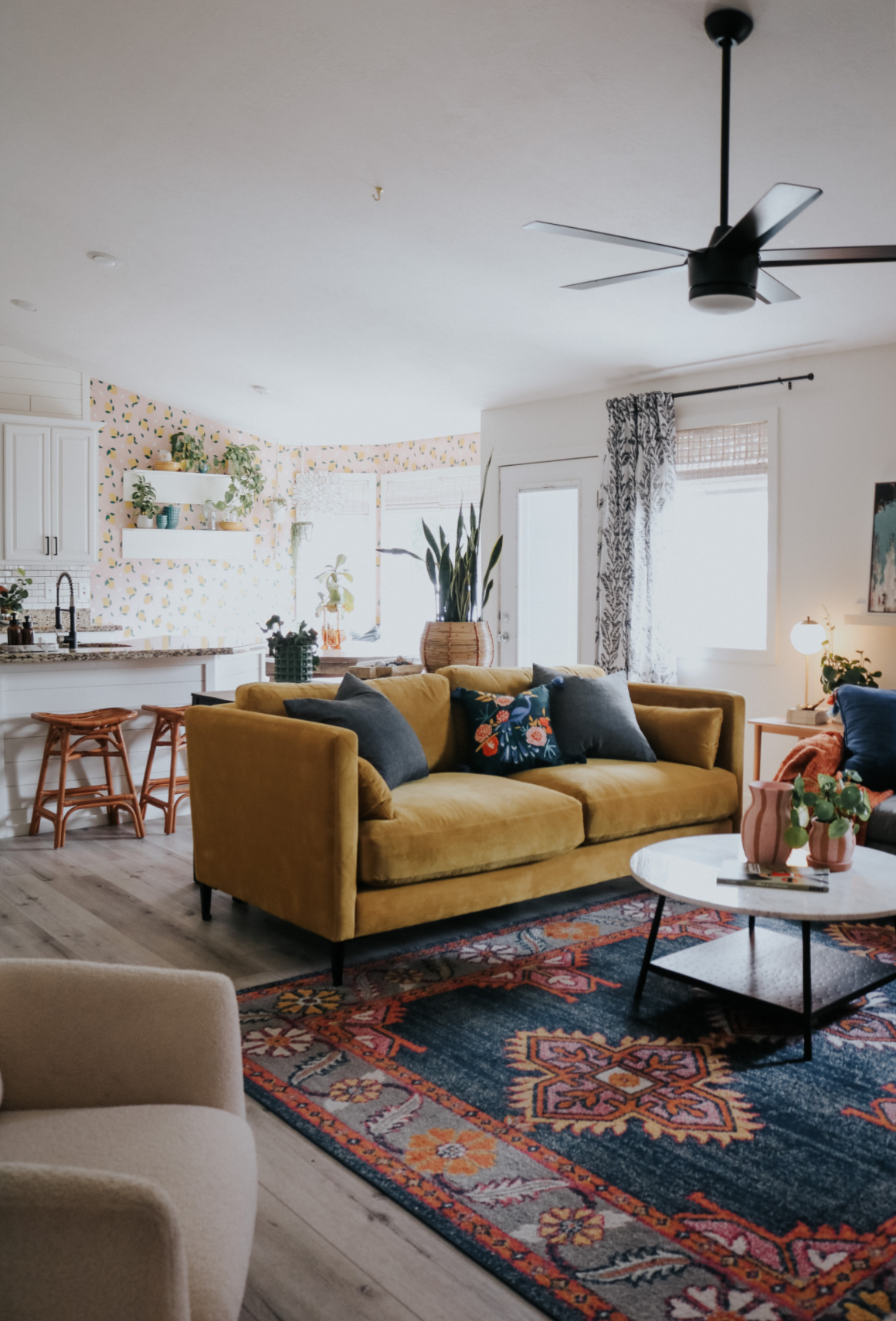 Colorful Fun Family Room- Vintage Inspired