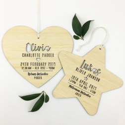 Colour and Spice | Birth Details Shape Wall Hangings - Heart and Star | www.nestlingcollective.com