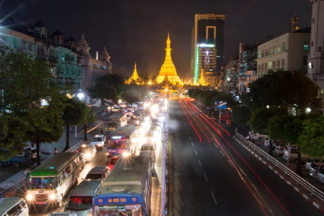 Streets of Yangon at night