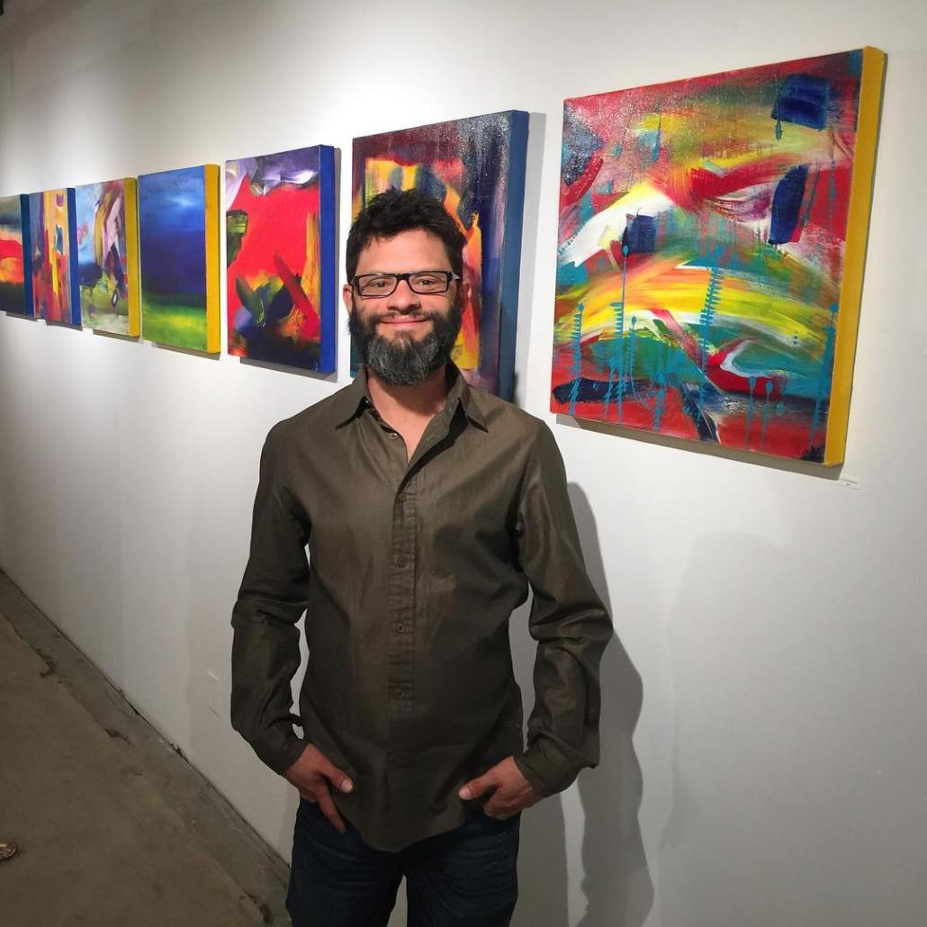 Abstract artist Nestor Toro with his work called 9 1/2 Hours being shown at the Fold Gallery in Los Angeles