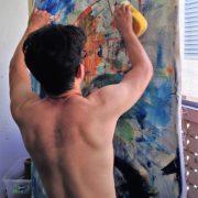 Abstract artist Nestor Toro working in his studio in Los Angeles