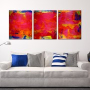 A place to hide II - Abstract Tryptic (2016) SOLD by Los Angeles artist Nestor Toro