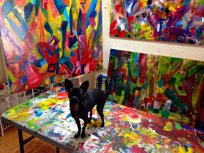 Ginger in the art studio of Los Angeles abstract painter Nestor Toro