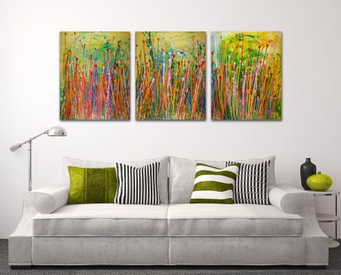 Interrupted Floral landscape - Tryptic - BEAUTIFUL STATEMENT (2016) SOLD