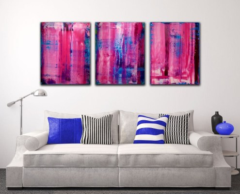 SOLD - A place to hide III - Abstract Tryptic (2016) Edit Acrylic painting by Nestor Toro